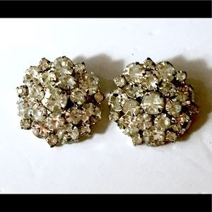 Large Rhinestone Earrings Clip On Vintage
